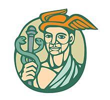 Hermes Holding Cadaceus Woodcut Linocut by patrimonio
