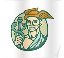 Hermes Holding Cadaceus Woodcut Linocut Poster