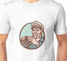 Navy Admiral Binoculars Circle Linocut Unisex T-Shirt
