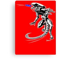 Alien Loves to Play Frisbee Canvas Print