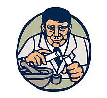 Scientist Test Tube Woodcut Linocut by patrimonio