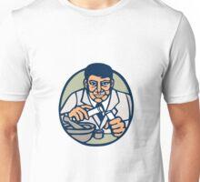 Scientist Test Tube Woodcut Linocut Unisex T-Shirt