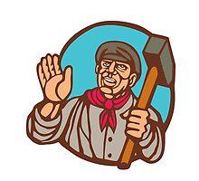 Union Worker With Sledgehammer Linocut by patrimonio