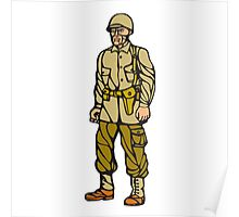 World War Two Soldier Standing Linocut Poster