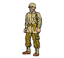 World War Two Soldier Standing Linocut Photographic Print