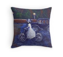 The lady cyclist Throw Pillow