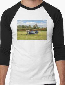 Aeronca C3 G-ADRR post restoration engine runs Men's Baseball ¾ T-Shirt