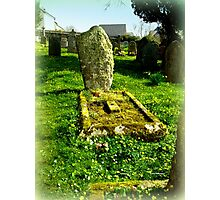 Grave of Moss and Flowers in Blisland Village Photographic Print