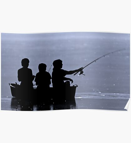 Three boys fishing Poster