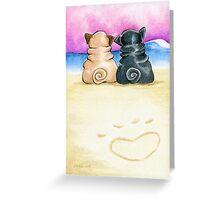 Pugs in Love Beachside Greeting Card