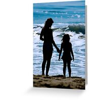Mother & Daughter Beach Silhouette Greeting Card