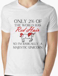RED HAIR MAJESTIC UNICORN Mens V-Neck T-Shirt