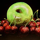 One apple and cherries by Ray Wilkins