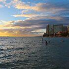 Sunset on Waikiki by Barbara  Brown