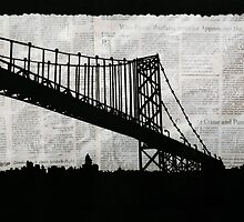 News Feed , Newspaper Bridge Collage, night silhouette cityscape news paper cutout, black and white paper city print illustration  by IrenesGoodies