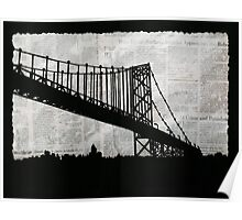 News Feed , Newspaper Bridge Collage, night silhouette cityscape news paper cutout, black and white paper city print illustration  Poster