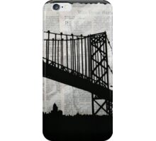 News Feed , Newspaper Bridge Collage, night silhouette cityscape news paper cutout, black and white paper city print illustration  iPhone Case/Skin