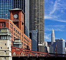 Chicago river cruise view towards  La Salle Street Bridge by atomov