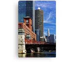 Chicago river cruise view towards  La Salle Street Bridge Canvas Print