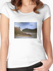 Beautiful Landscape Tranquil Countryside Women's Fitted Scoop T-Shirt
