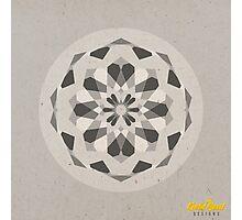 Grey Geometric Mandala Photographic Print