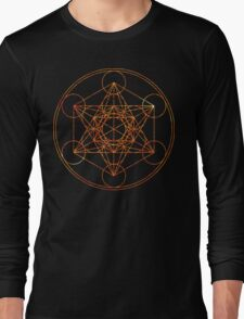 Metatron's Cube [The Red Moon] | Sacred Geometry Long Sleeve T-Shirt