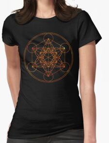 Metatron's Cube [The Red Moon] | Sacred Geometry Womens Fitted T-Shirt