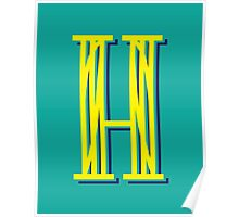 Turquoise Letter H Poster