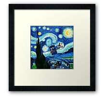 Tardis Flying Starry Night Framed Print