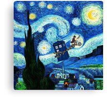 Tardis Flying Starry Night Canvas Print