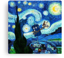 Tardis Flying Starry Night Canvas Print