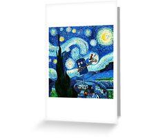 Tardis Flying Starry Night Greeting Card