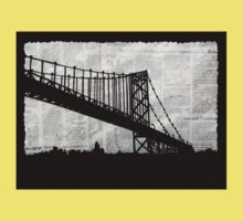 News Feed , Newspaper Bridge Collage, night silhouette cityscape news paper cutout, black and white paper city print illustration  Kids Clothes