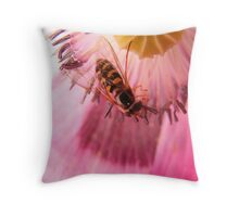 Sunlit Hoverfly Throw Pillow