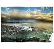Storm over Fingle Beach Poster