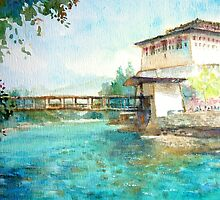 Bhutan id1060465 watercolor landscape painting by Almondtree