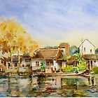 China water village watercolor id1270388 by Almondtree