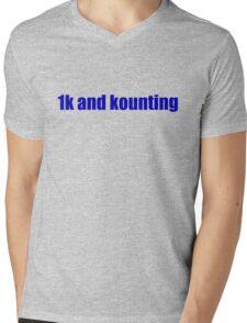 1k and kounting! (blue logo) Mens V-Neck T-Shirt