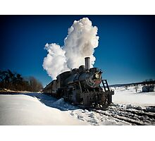 Train Engine in Snow Photographic Print