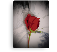 Red Rose Painterly Style Image From Photograph Canvas Print
