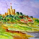 Warkworth Castle from the estuary by GEORGE SANDERSON