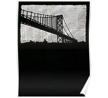 Paper City , Newspaper Bridge Collage, night silhouette cityscape news paper cutout, black and white paper city print illustration  Poster