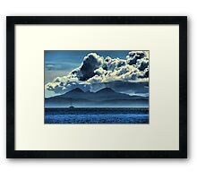 Storm brewing over Jura Framed Print