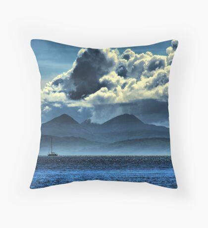 Storm brewing over Jura Throw Pillow