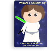 When I grow up, I will be a princess (and a little bit Jedi) Metal Print