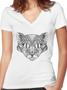 Decorative image of a cat Women's Fitted V-Neck T-Shirt