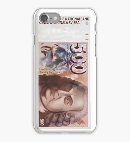 500 Old Swiss Francs Note -Front iPhone Case/Skin