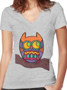 Cozy Owl Women's Fitted V-Neck T-Shirt
