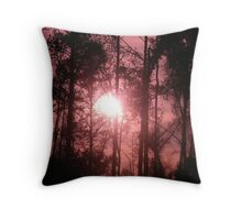 Pink Sunset in the Trees II Throw Pillow