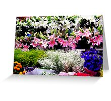 """Beijing Flower Stall . ."" Greeting Card"